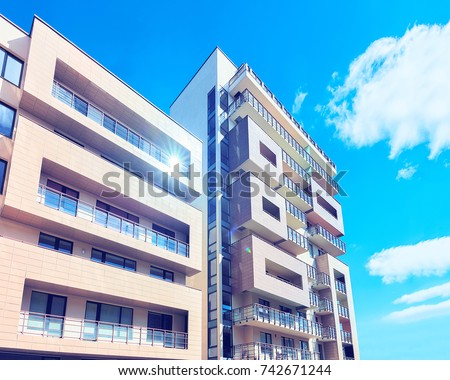 Druskininkai, Lithuania - May 1, 2017: Contemporary complex of european apartment buildings #742671244