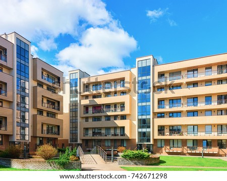 Druskininkai, Lithuania - May 1, 2017: Contemporary european complex of residential buildings #742671298