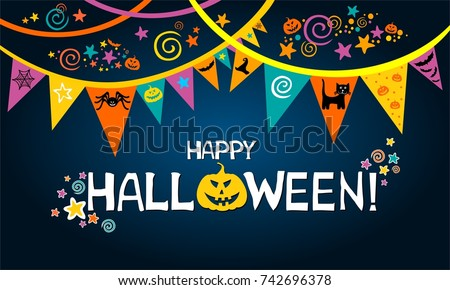 Happy Halloween. Greeting card.  Celebration dark background with garland, pumpkin, cat, hat and place for your text. Vector illustration #742696378