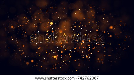 Gold abstract bokeh background. real backlit dust particles with real lens flare. glitter lights . Abstract Festivevintage lights defocused. Christmas and New Year feast. #742762087