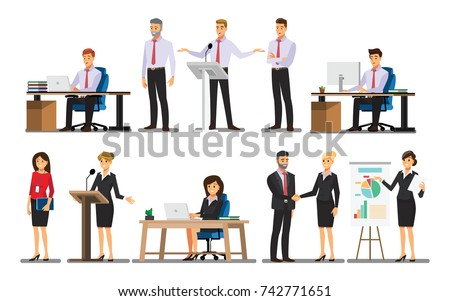 Businessman character In the office set  ,Vector illustration  Royalty-Free Stock Photo #742771651