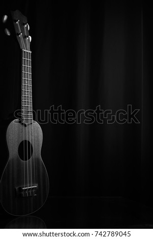 ukulele with a black background #742789045