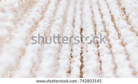 Selective focus of white chick,it made from rice popped use for decoration and background #742803145