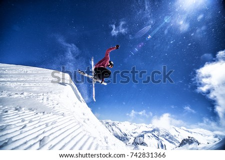 Expert freestyle skier jumping #742831366