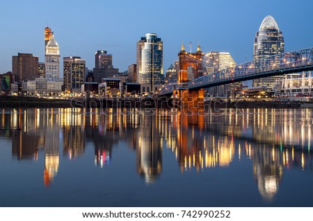 Evening city view of Cincinnati over Ohio River.