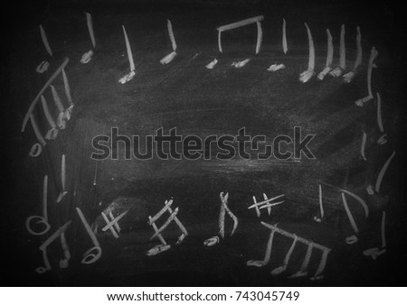 frame chalkboard with musical notes, blackboard texture