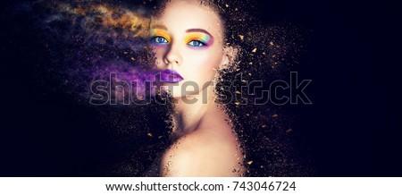 fashion model woman make up #743046724