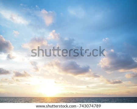 blue sky with clouds and sea, sunset #743074789