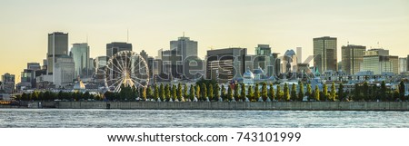 Scenic panorama of the city of Montreal at sunset. Quebec, Canada.