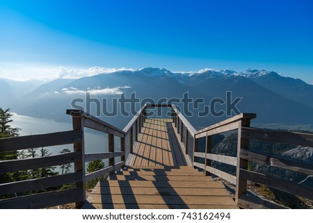 Viewing Deck at Sea to Sky Gondola Overlooking Squamish  #743162494