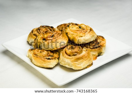 Appetizer with French pastry with cheese and ham #743168365