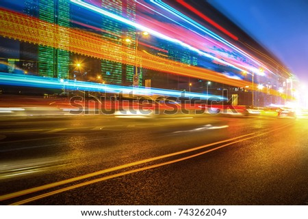 abstract image of blur motion of cars on the city road at night #743262049