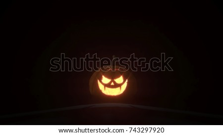 3d rendering of smiling scary jack o lantern Halloween pumpkin on dark background. 3d illustration. #743297920