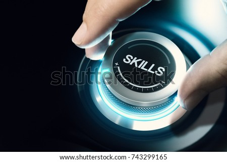 Hand turning a skill test knob to the maximum position. Concept of professional or educational knowledge over black background. Composite image between a hand photography and a 3D background. #743299165