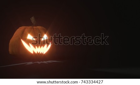3d rendering of a smiling scary Jack o Lantern Halloween pumpkin on dark background. Light comes out of its mouth and eyes. 3d illustration #743334427