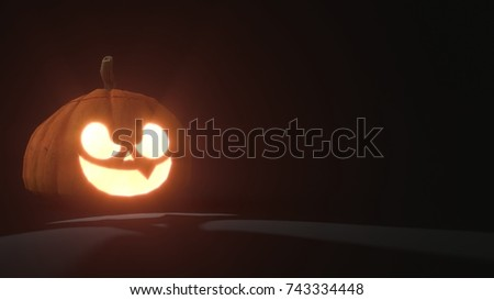 3d rendering of a smiling scary Jack o Lantern Halloween pumpkin on dark background. Light comes out of its mouth and eyes. 3d illustration #743334448