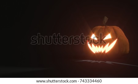 3d rendering of a smiling scary Jack o Lantern Halloween pumpkin on dark background. Light comes out of its mouth and eyes. 3d illustration #743334460