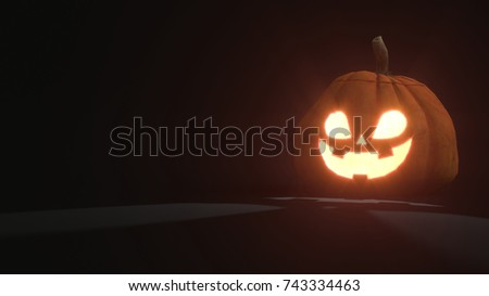 3d rendering of a smiling scary Jack o Lantern Halloween pumpkin on dark background. Light comes out of its mouth and eyes. 3d illustration #743334463
