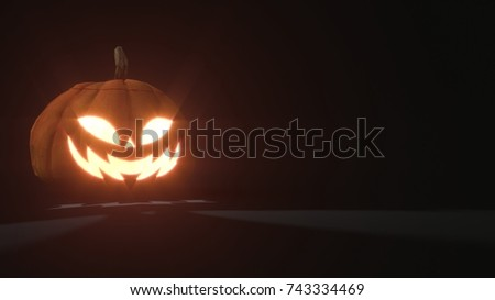3d rendering of a smiling scary Jack o Lantern Halloween pumpkin on dark background. Light comes out of its mouth and eyes. 3d illustration #743334469