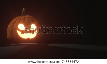 3d rendering of a smiling scary Jack o Lantern Halloween pumpkin on dark background. Light comes out of its mouth and eyes. 3d illustration #743334472