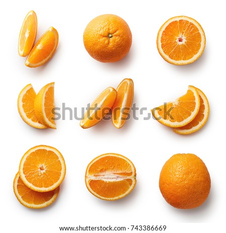 Set of fresh whole and cut orange and slices isolated on white background. From top view #743386669