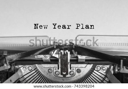 New Year Plan message typed on a vintage typewriter #743398204