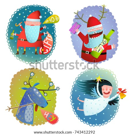 Christmas or New Year holidays crazy cartoon funny greeting card designs. Raster variant.
