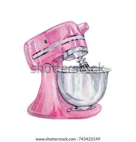 Hand drawn watercolor pink mixer on white background.