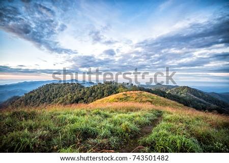 Mountain landscape with cloud sky #743501482