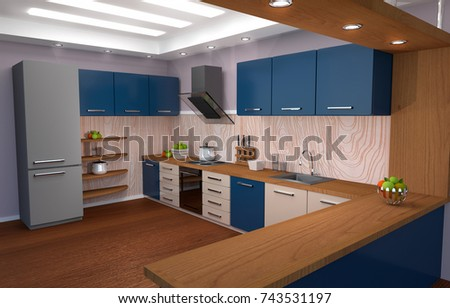 Warm kitchen interior. 3d rendering #743531197
