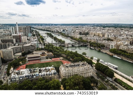 Paris view of the Seine from the Eiffel Tower #743553019