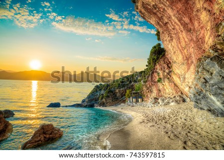 Beautiful landscape in Corfu island, Beach and sea shore in summer holiday at sunrise in Greece #743597815