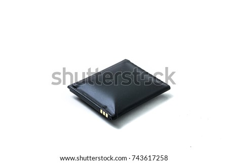 inflated defective cellphone battery isolated on white background #743617258