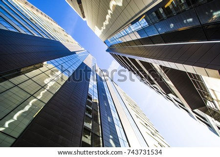 The facade of the new residential high-rise buildings against the sky . The concept of building a typical residential neighborhood #743731534