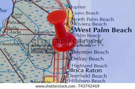 Delray Beach, Florida, Palm Beach County in the United States of America marked on map with red pushpin. West Palm Beach and Boca can also be seen on map. #743742469