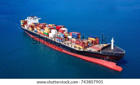 Large container ship at sea - Aerial image #743807905