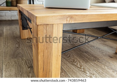modern wooden table in the loft interior #743859463
