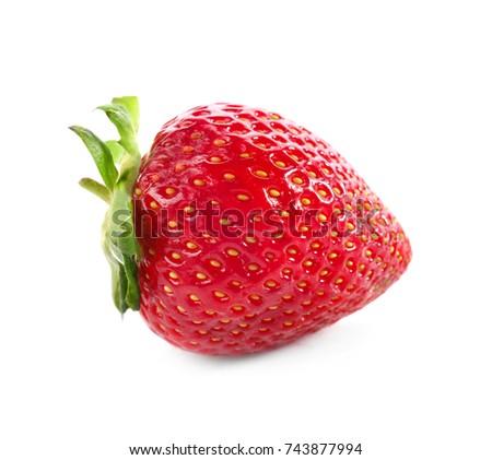 Delicious ripe strawberry on white background #743877994