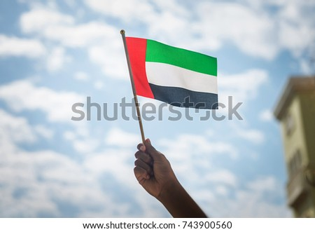 Close up of a kid's hand holding tiny flag of UAE. National day celebration by people of United Arab Emirates Royalty-Free Stock Photo #743900560