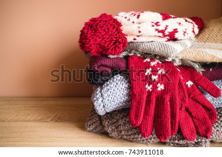 The pile of winter cloths