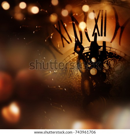 New year background with clock and bokeh for congratulations #743961706