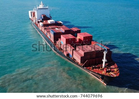 Large container ship at sea - Aerial image #744079696
