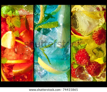 Three extreme macro shots of colorful cocktail drinks #74415865