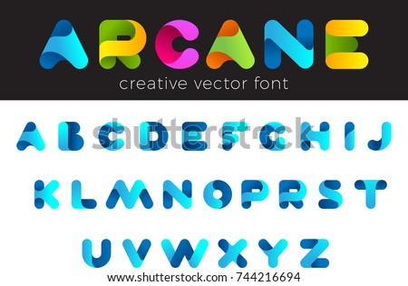Creative Design vector Font of twisted Ribbon for Title, Header, Lettering, Logo. Funny Entertainment Active Sport Technology areas Typeface. Colorful rounded Letters and Numbers. Royalty-Free Stock Photo #744216694