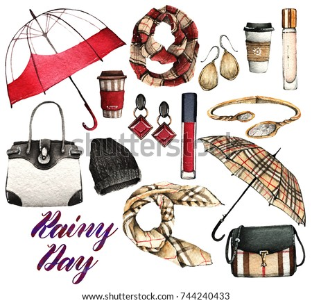 Watercolor Fashion Illustration. set of trendy accessories. Rainy days. scarfs, rubber boots, perfume, earrings, bracelet, umbrellas, bags, coffee, hat, lipstick