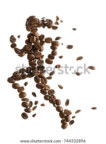 Coffee beans arranged in running female concept