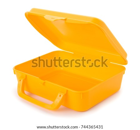 Plastic lunch box isolated on white background. #744365431