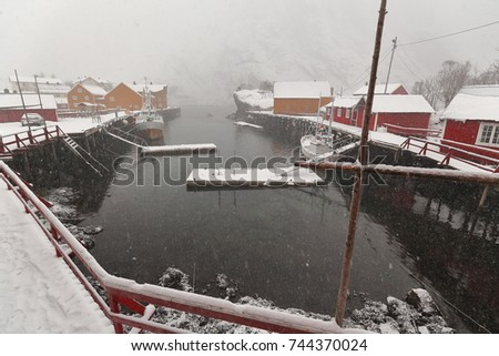 wards view over the snowy harbor under heavy snowfall with floating moorings and fishing boats-Nusfjord village to Bottelvika-bay and mounts Nesheia-Sultinden. Flakstadoya-Lofoten-Nordland-Norway #744370024
