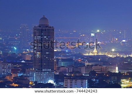 Bangkok city scape at night. #744424243