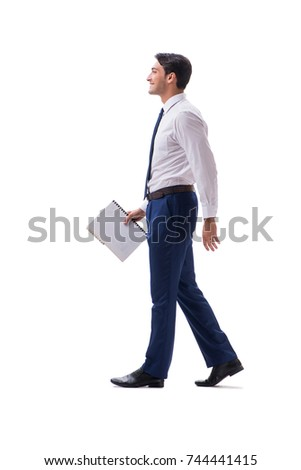 Businessman walking standing side view isolated on white backgro #744441415